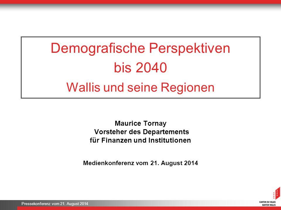 Demografische Perspektiven bis 2040 Wallis und seine Regionen