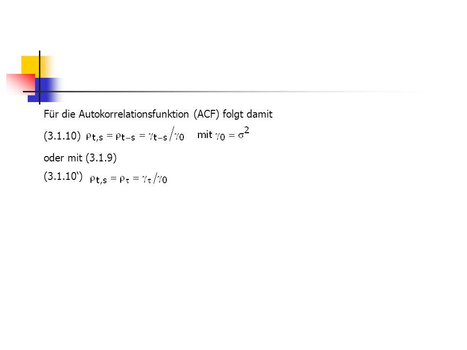 Für die Autokorrelationsfunktion (ACF) folgt damit