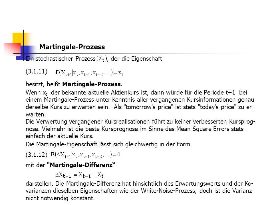 Martingale-Prozess Ein stochastischer Prozess , der die Eigenschaft