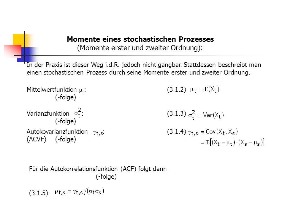 Momente eines stochastischen Prozesses (Momente erster und zweiter Ordnung):