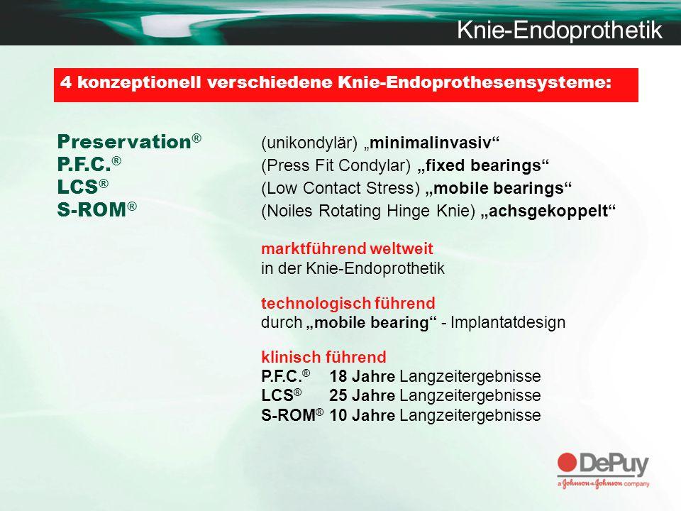 Knie-Endoprothetik 4 konzeptionell verschiedene Knie-Endoprothesensysteme: