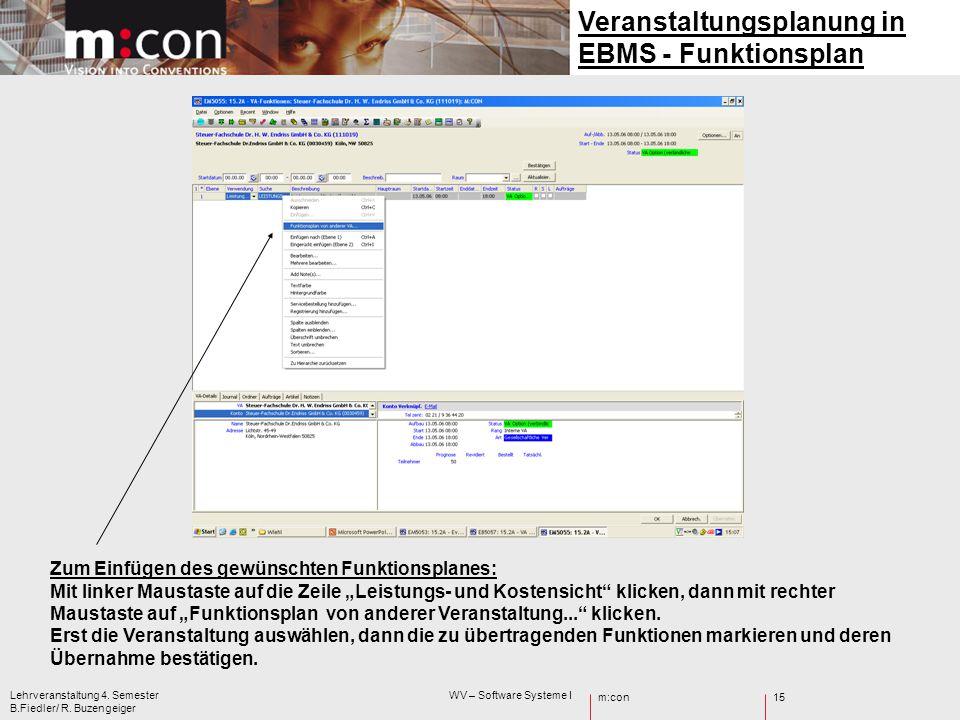 Veranstaltungsplanung in EBMS - Funktionsplan