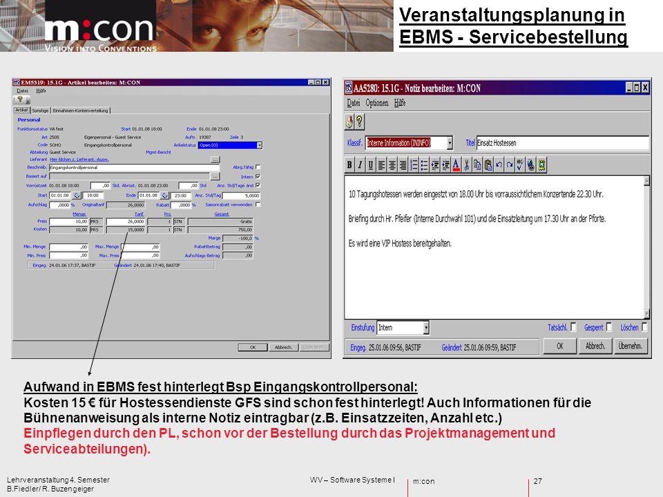 Veranstaltungsplanung in EBMS - Servicebestellung