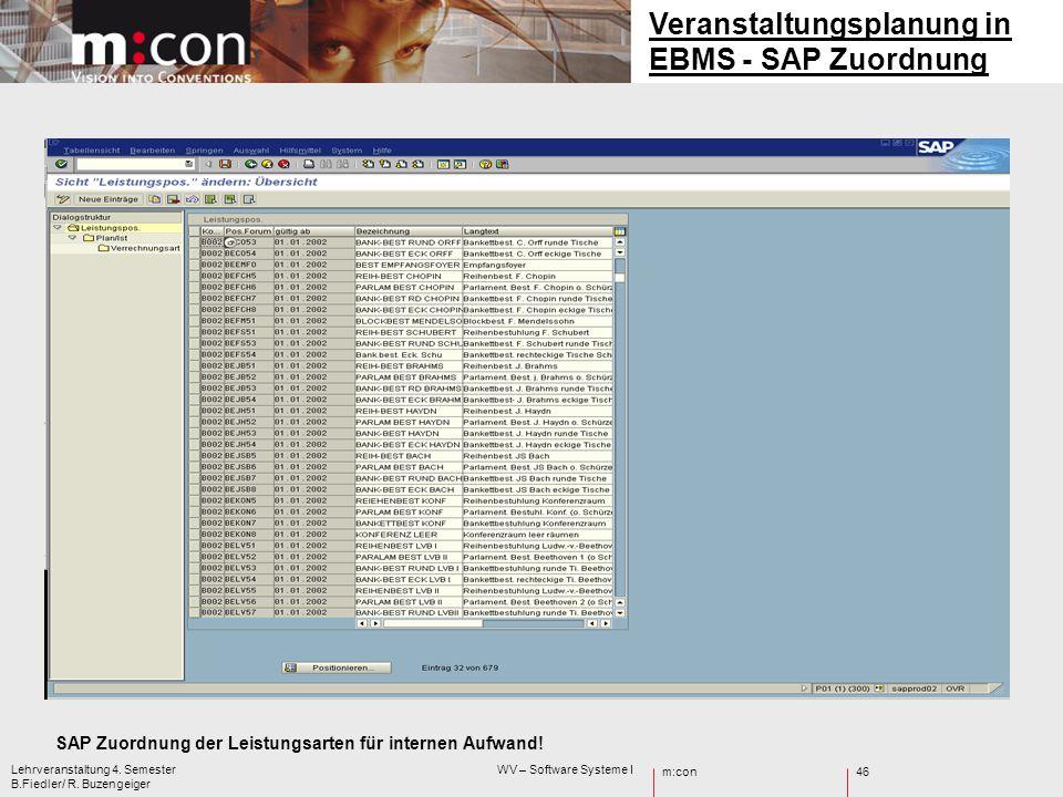 Veranstaltungsplanung in EBMS - SAP Zuordnung