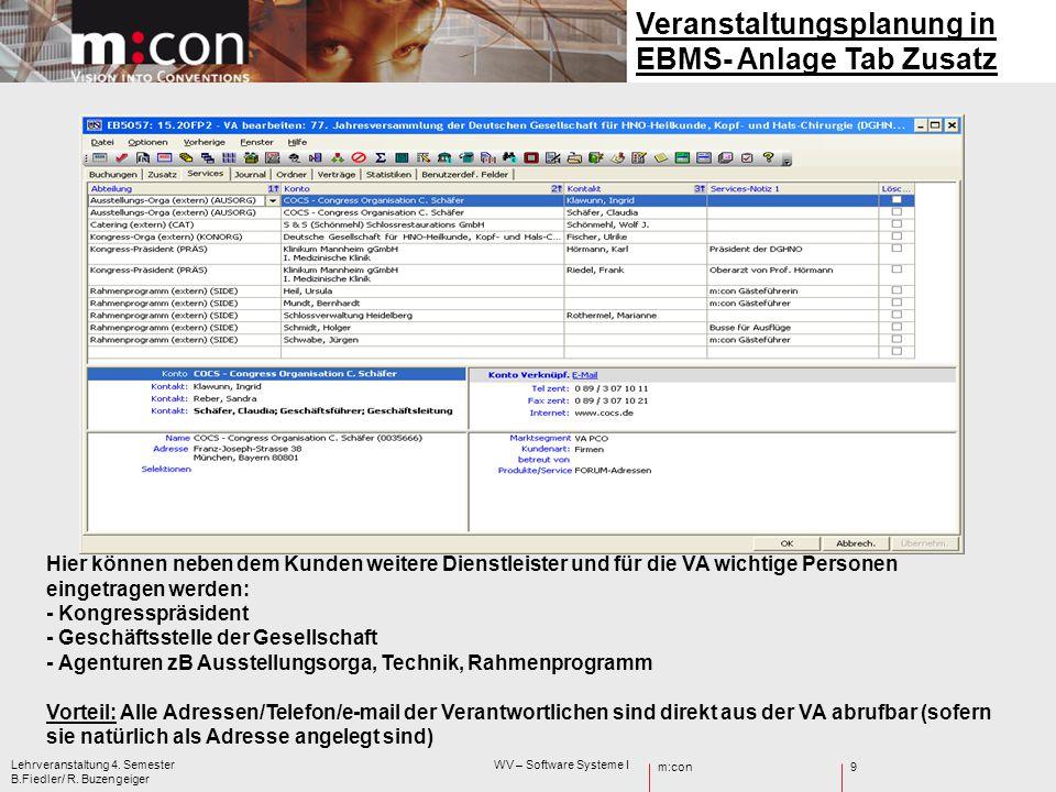 Veranstaltungsplanung in EBMS- Anlage Tab Zusatz