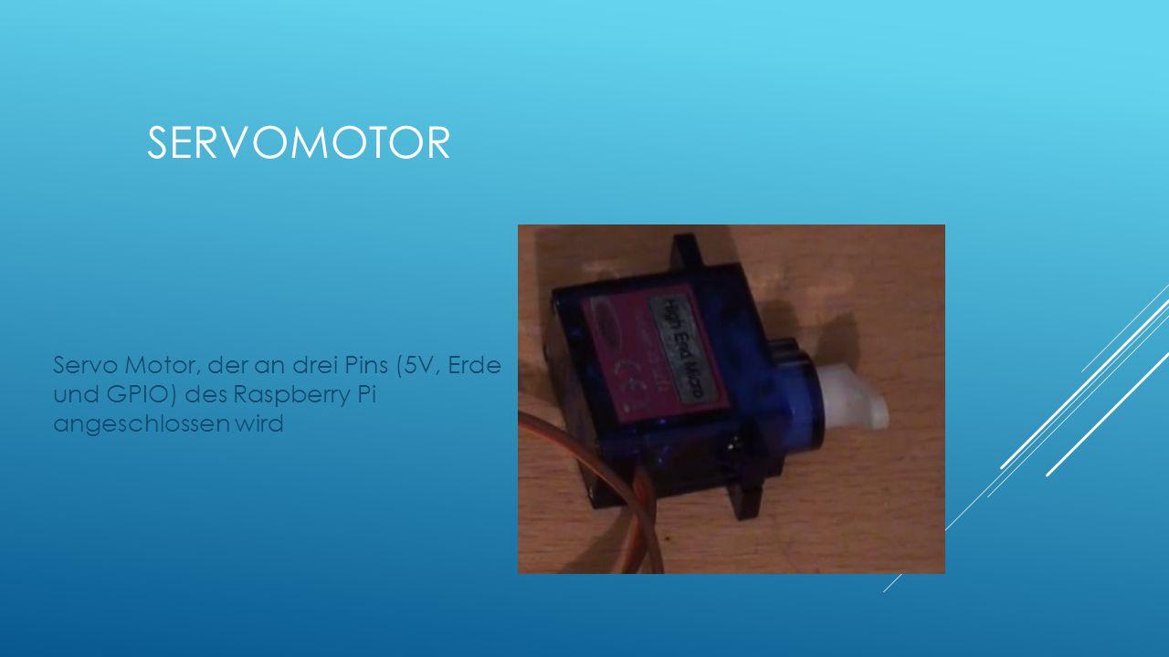 Servomotor Servo Motor, der an drei Pins (5V, Erde und GPIO) des Raspberry Pi angeschlossen wird