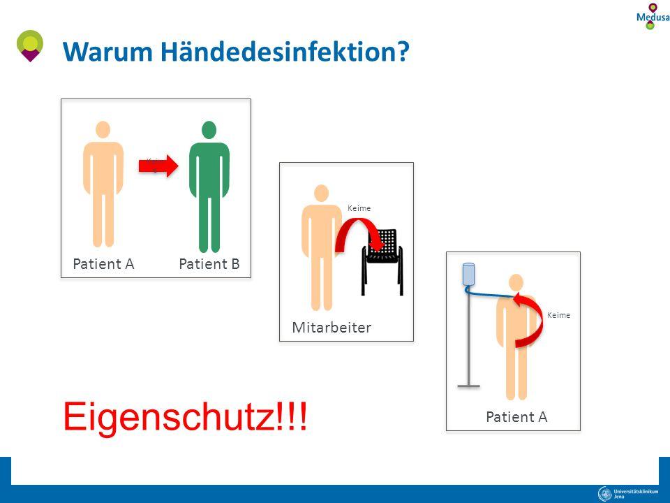 Eigenschutz!!! Warum Händedesinfektion Patient A Patient B