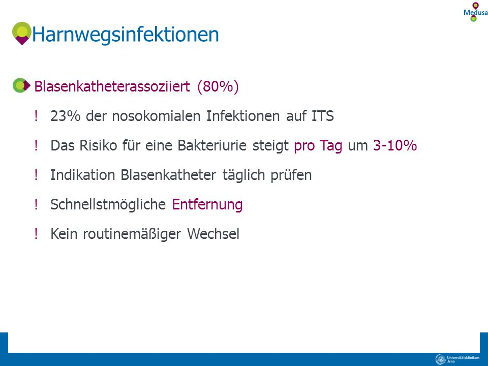 Harnwegsinfektionen Blasenkatheterassoziiert (80%)