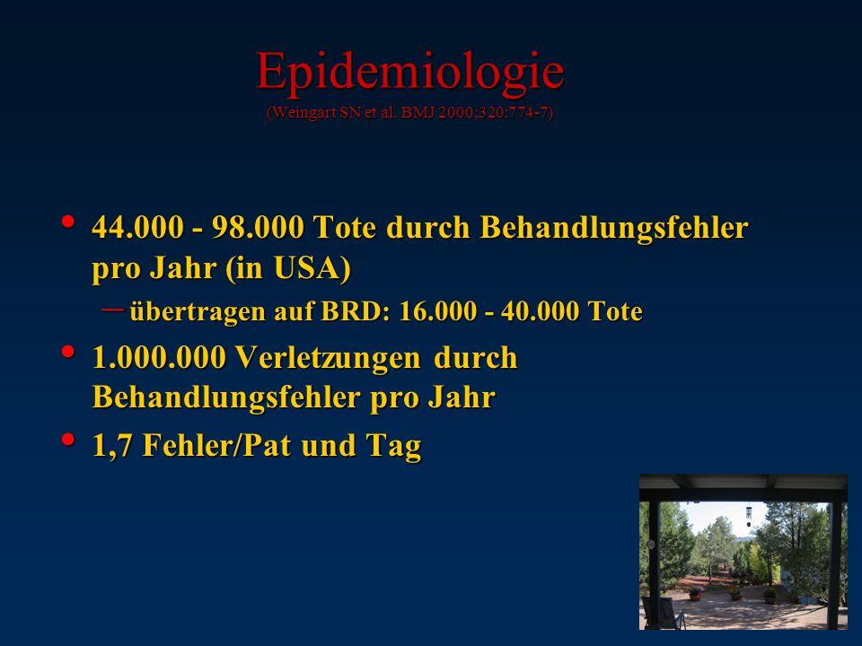 Epidemiologie (Weingart SN et al. BMJ 2000;320:774-7)