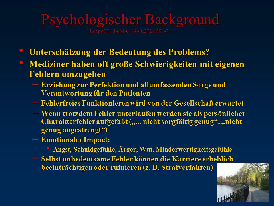 Psychologischer Background Leape LL. JAMA (1994;272:1851-7)