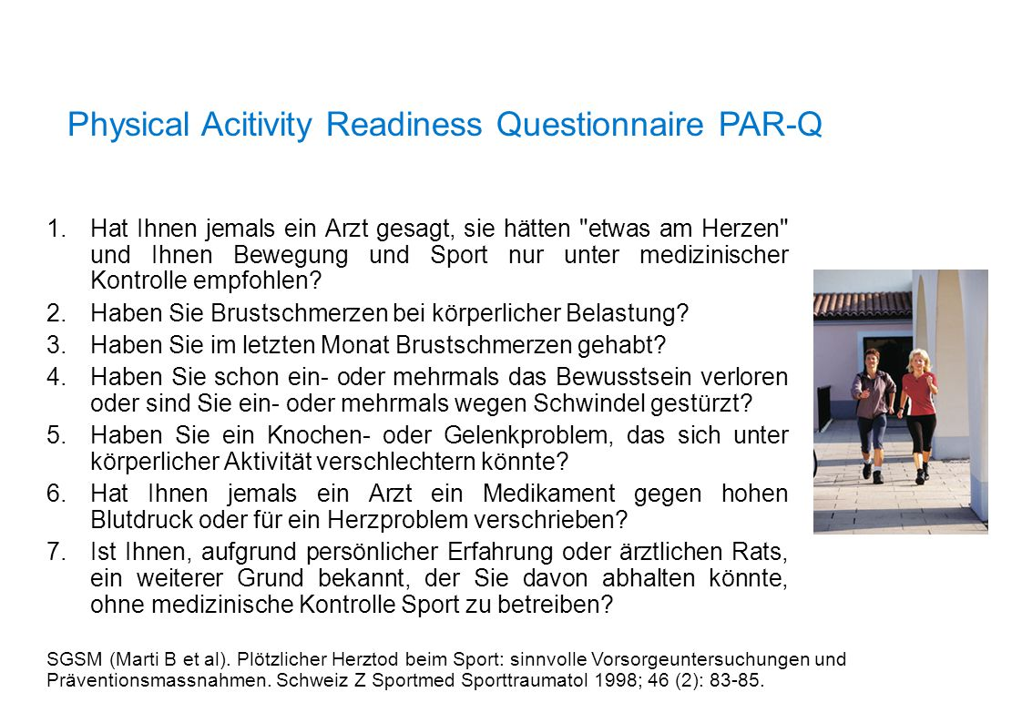 Physical Acitivity Readiness Questionnaire PAR-Q