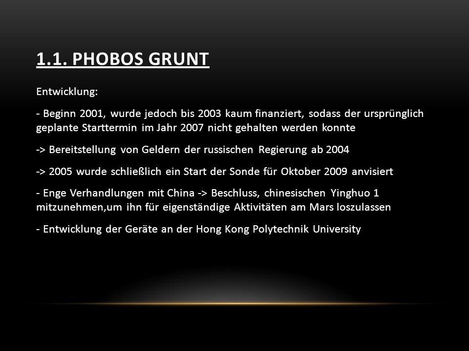 1.1. Phobos Grunt Entwicklung: