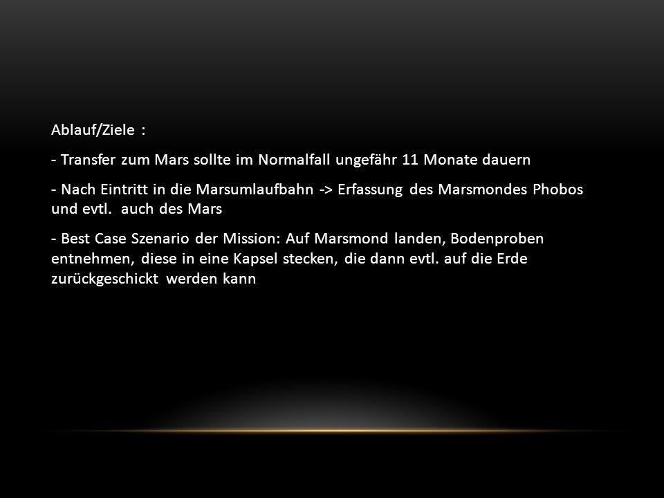Ablauf/Ziele : - Transfer zum Mars sollte im Normalfall ungefähr 11 Monate dauern - Nach Eintritt in die Marsumlaufbahn -> Erfassung des Marsmondes Phobos und evtl.