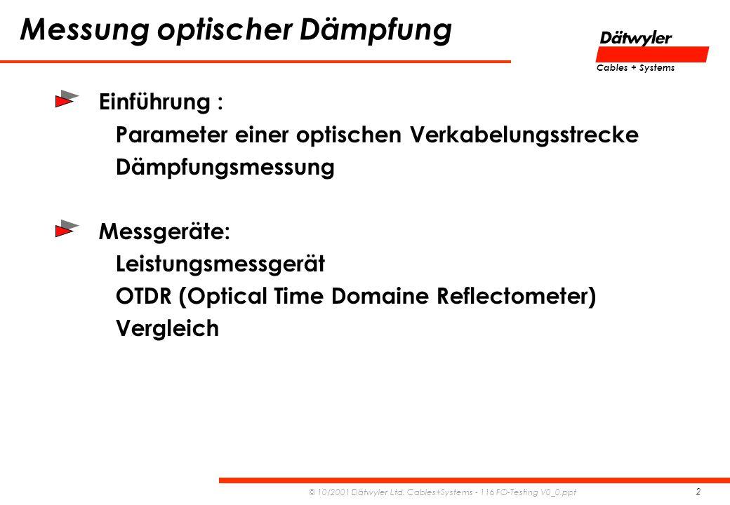 Messung optischer Dämpfung