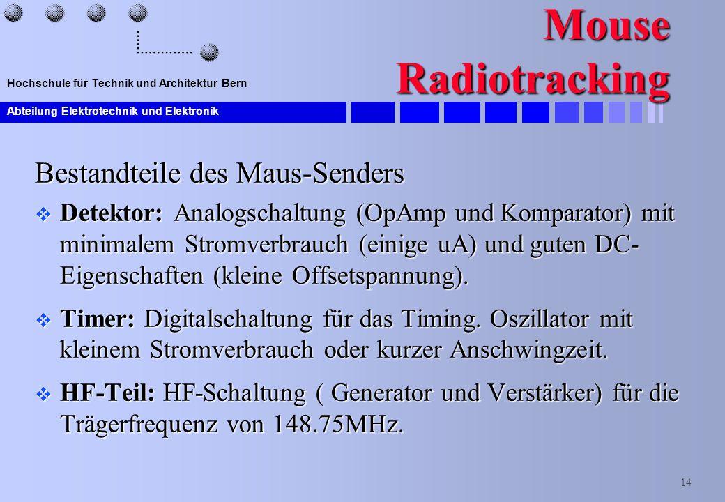Mouse Radiotracking Bestandteile des Maus-Senders