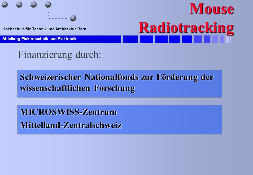 Mouse Radiotracking Finanzierung durch: