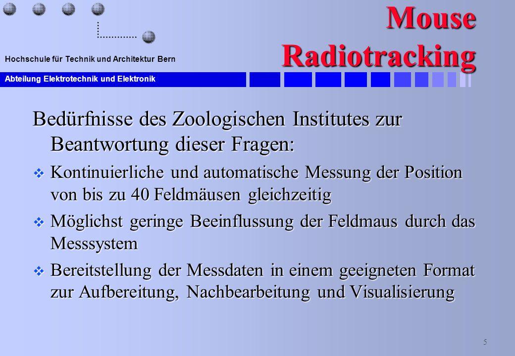 Mouse Radiotracking Bedürfnisse des Zoologischen Institutes zur Beantwortung dieser Fragen: