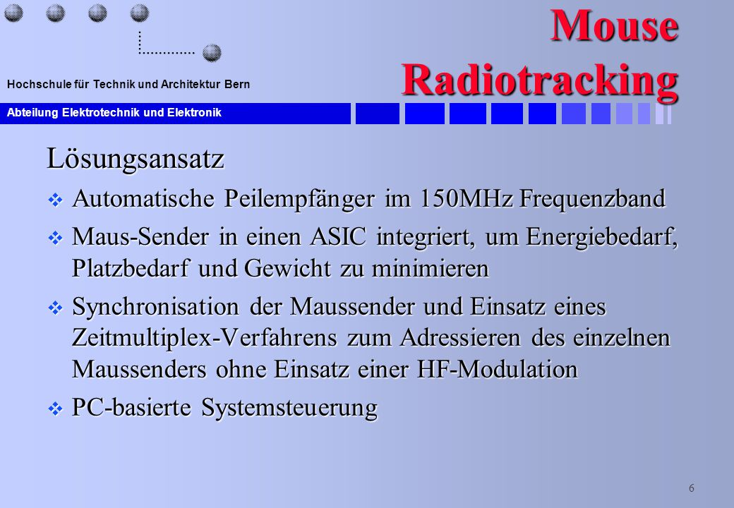 Mouse Radiotracking Lösungsansatz