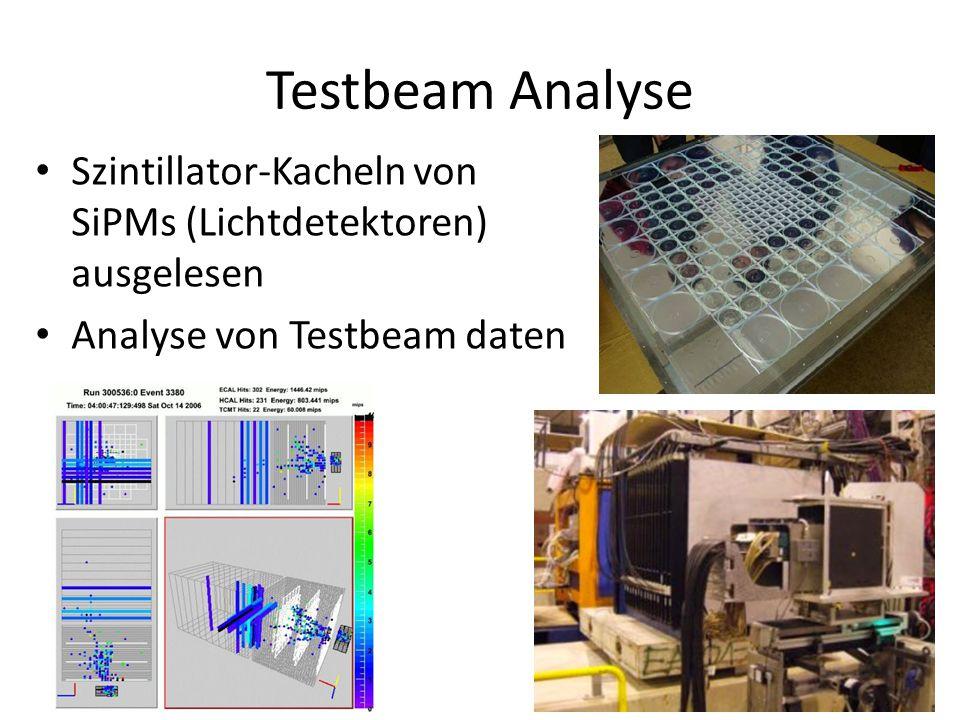 Testbeam Analyse Szintillator-Kacheln von SiPMs (Lichtdetektoren) ausgelesen.