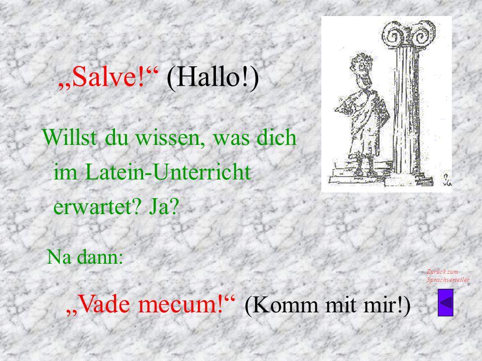 """Salve! (Hallo!) Na dann: ""Vade mecum! (Komm mit mir!)"