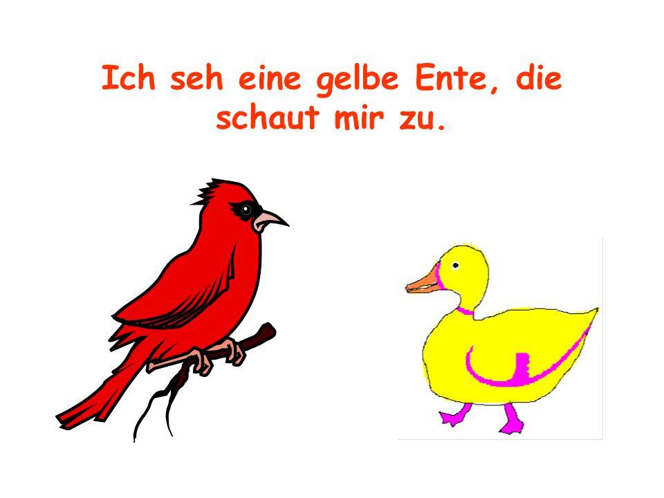 Ich seh eine gelbe Ente, die schaut mir zu.