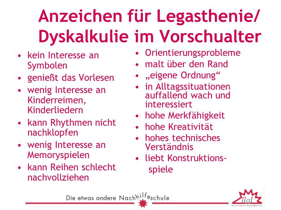 Anzeichen für Legasthenie/ Dyskalkulie im Vorschualter