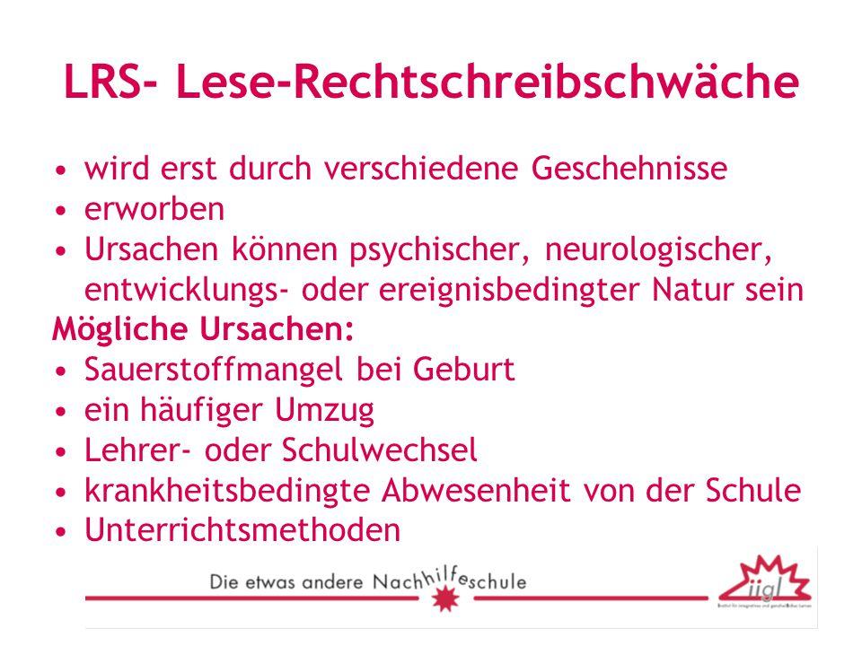 LRS- Lese-Rechtschreibschwäche