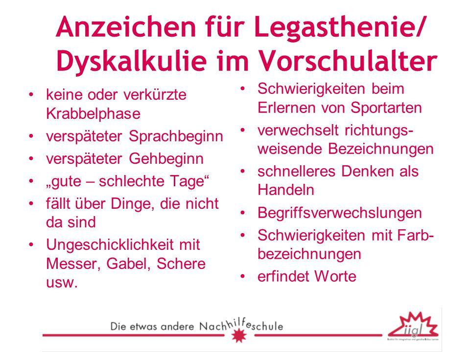 Anzeichen für Legasthenie/ Dyskalkulie im Vorschulalter