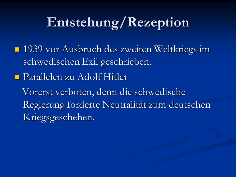 Entstehung/Rezeption