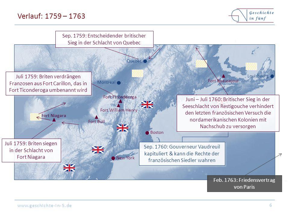 Verlauf: 1759 – 1763 Sep. 1759: Entscheidender britischer Sieg in der Schlacht von Quebec.