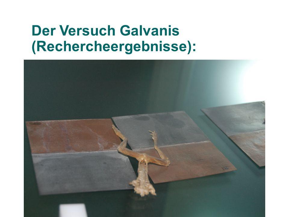 Der Versuch Galvanis (Rechercheergebnisse):