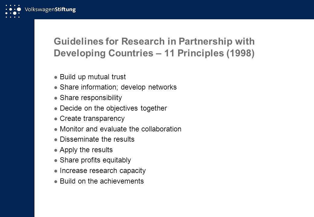 Guidelines for Research in Partnership with Developing Countries – 11 Principles (1998)