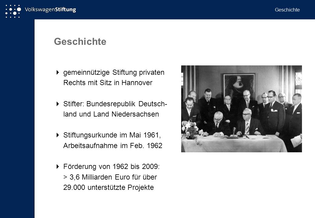 Geschichte Geschichte.  gemeinnützige Stiftung privaten Rechts mit Sitz in Hannover.