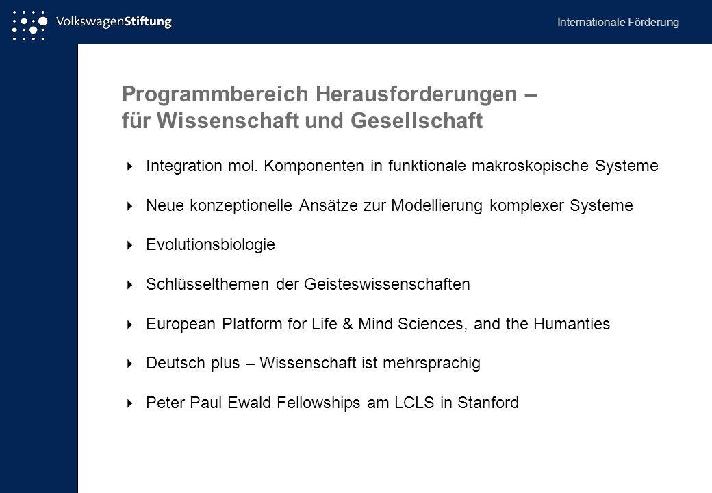 Programmbereich Herausforderungen – für Wissenschaft und Gesellschaft
