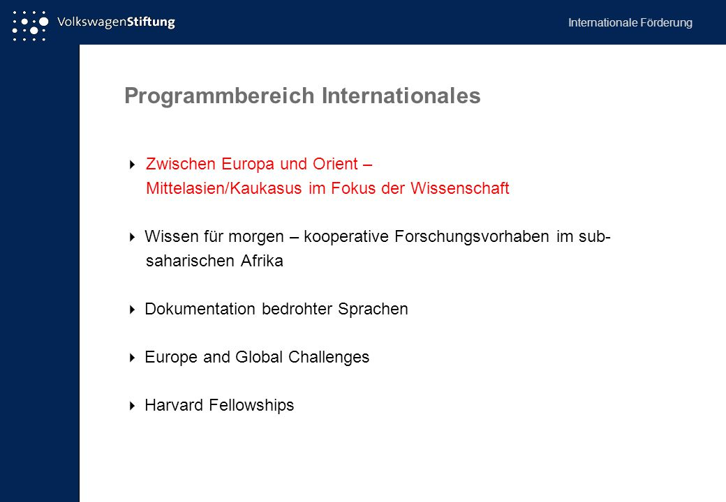 Programmbereich Internationales