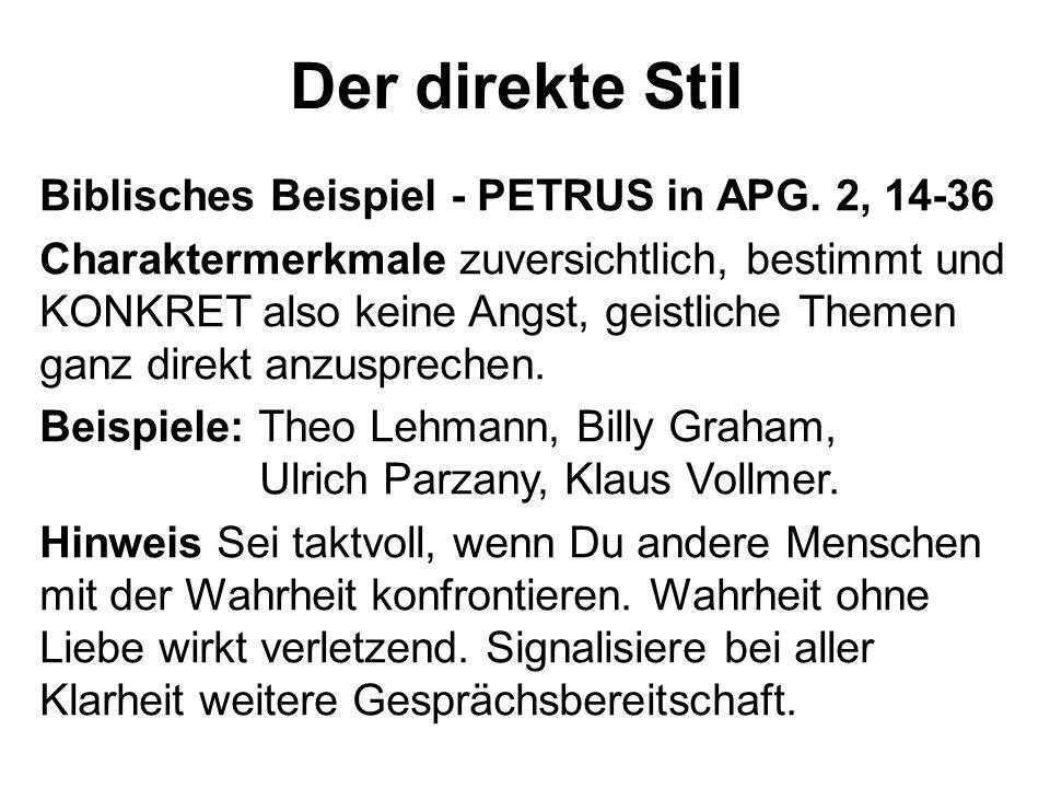 Der direkte Stil Biblisches Beispiel - PETRUS in APG. 2, 14-36