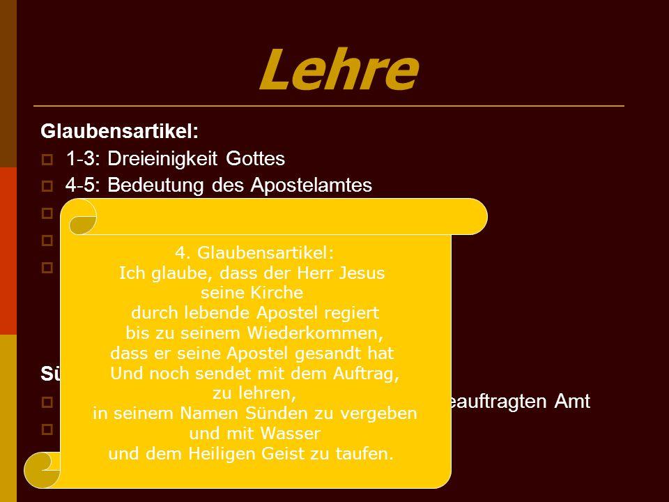 Lehre Glaubensartikel: 1-3: Dreieinigkeit Gottes