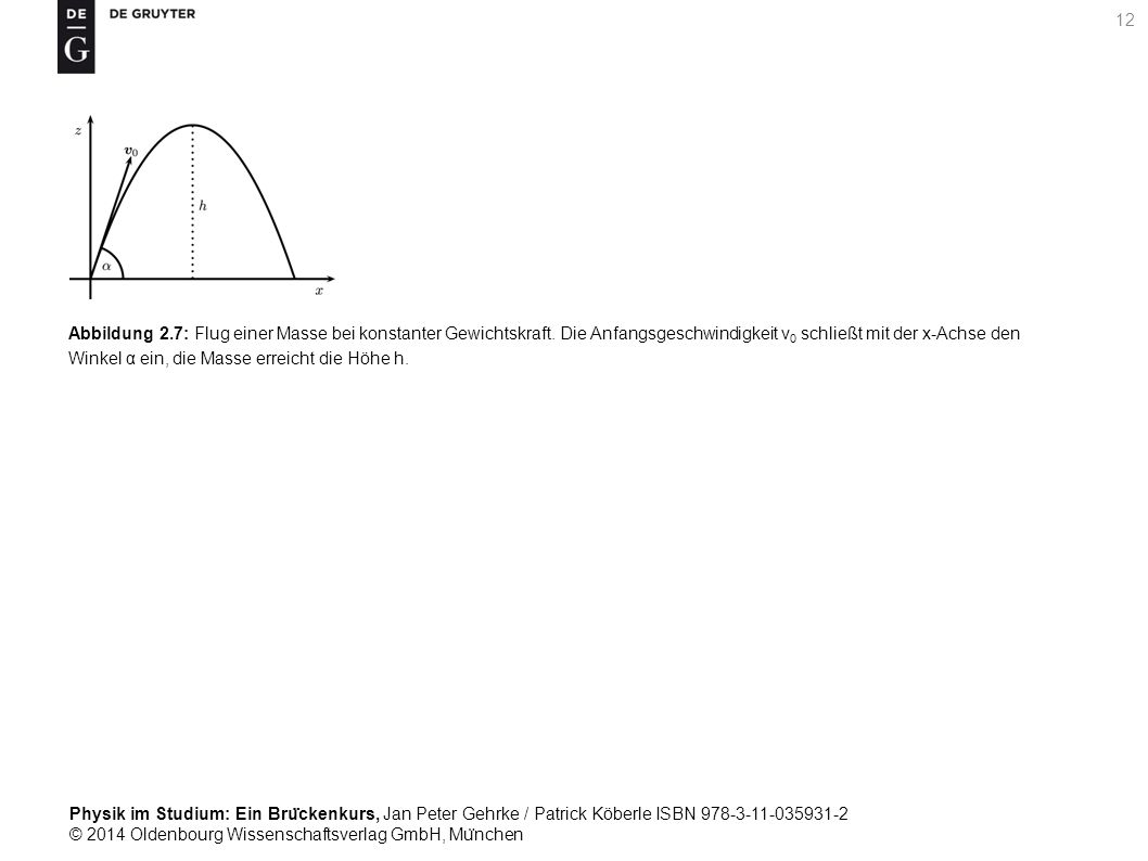 Abbildung 2. 7: Flug einer Masse bei konstanter Gewichtskraft