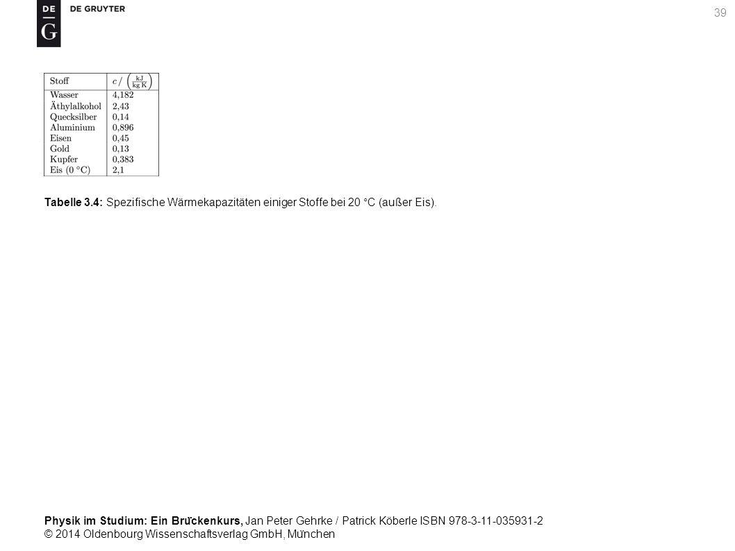 Tabelle 3.4: Spezifische Wärmekapazitäten einiger Stoffe bei 20 °C (außer Eis).