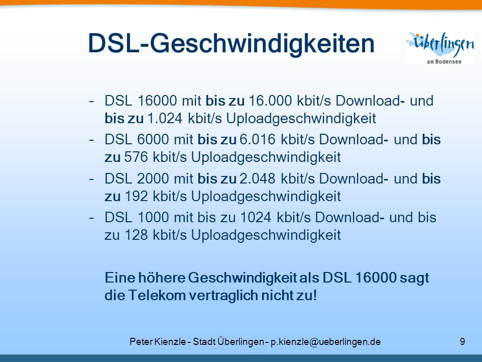 DSL-Geschwindigkeiten