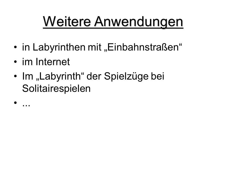 """Weitere Anwendungen in Labyrinthen mit """"Einbahnstraßen im Internet"""