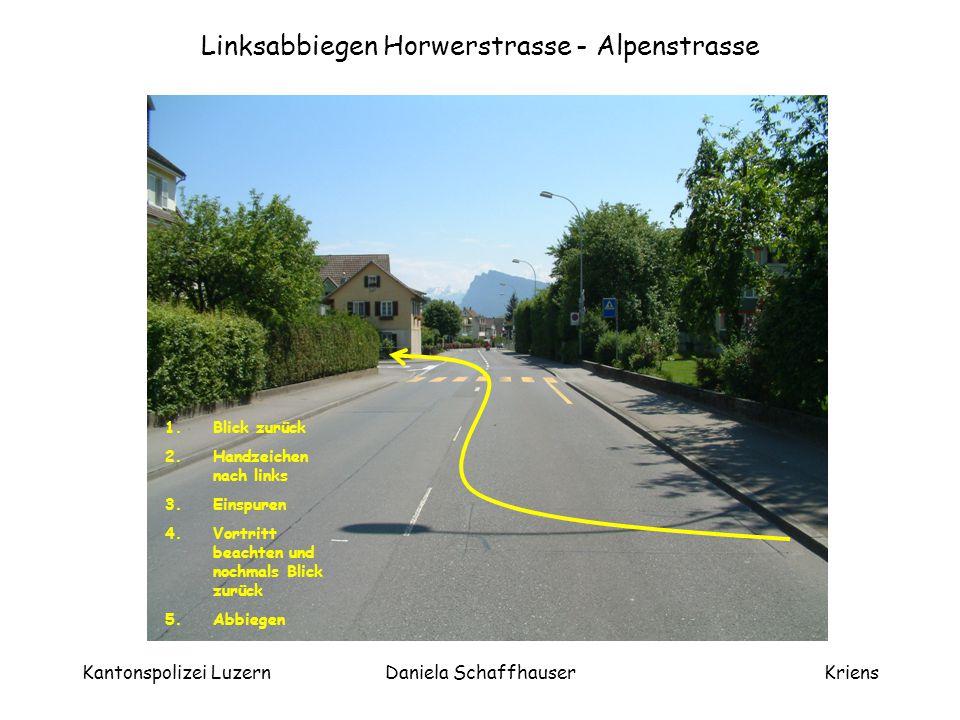 Linksabbiegen Horwerstrasse - Alpenstrasse