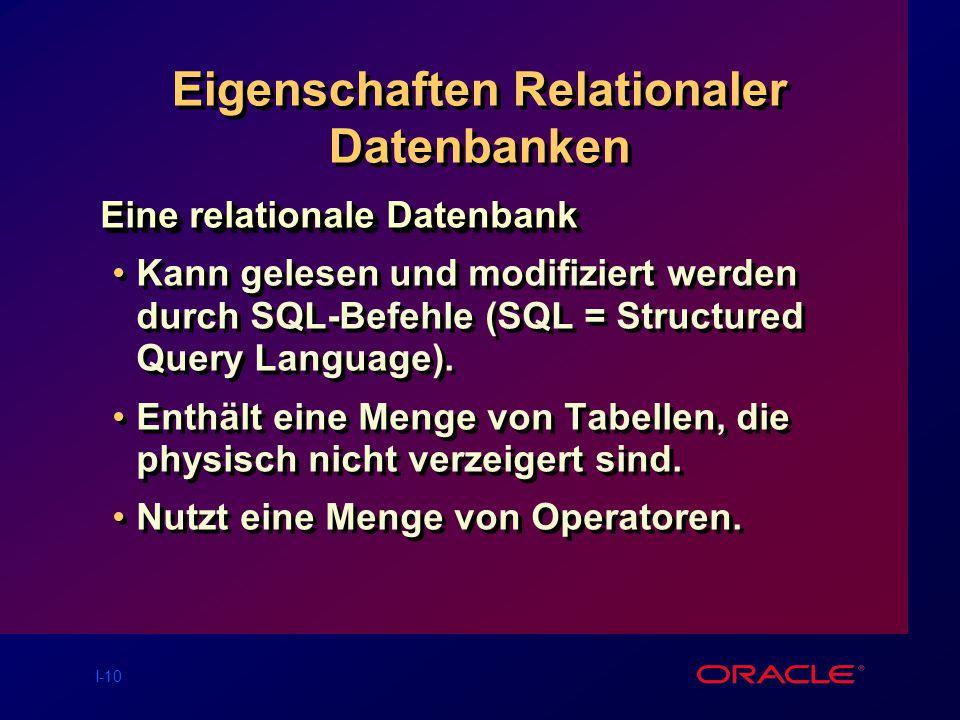 Eigenschaften Relationaler Datenbanken