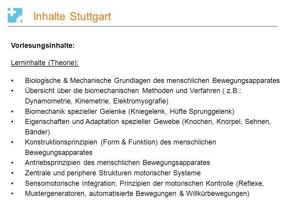 Inhalte Stuttgart Vorlesungsinhalte: Lerninhalte (Theorie):