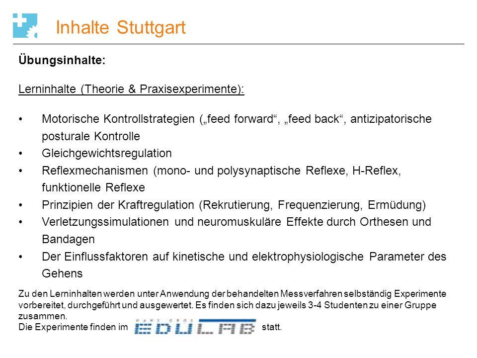 Inhalte Stuttgart Übungsinhalte: