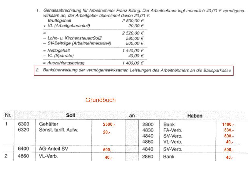 Grundbuch 2500,- 1400,- 580,- 20,- 500,- 40,- 500,- 500,- 40,- 40,-