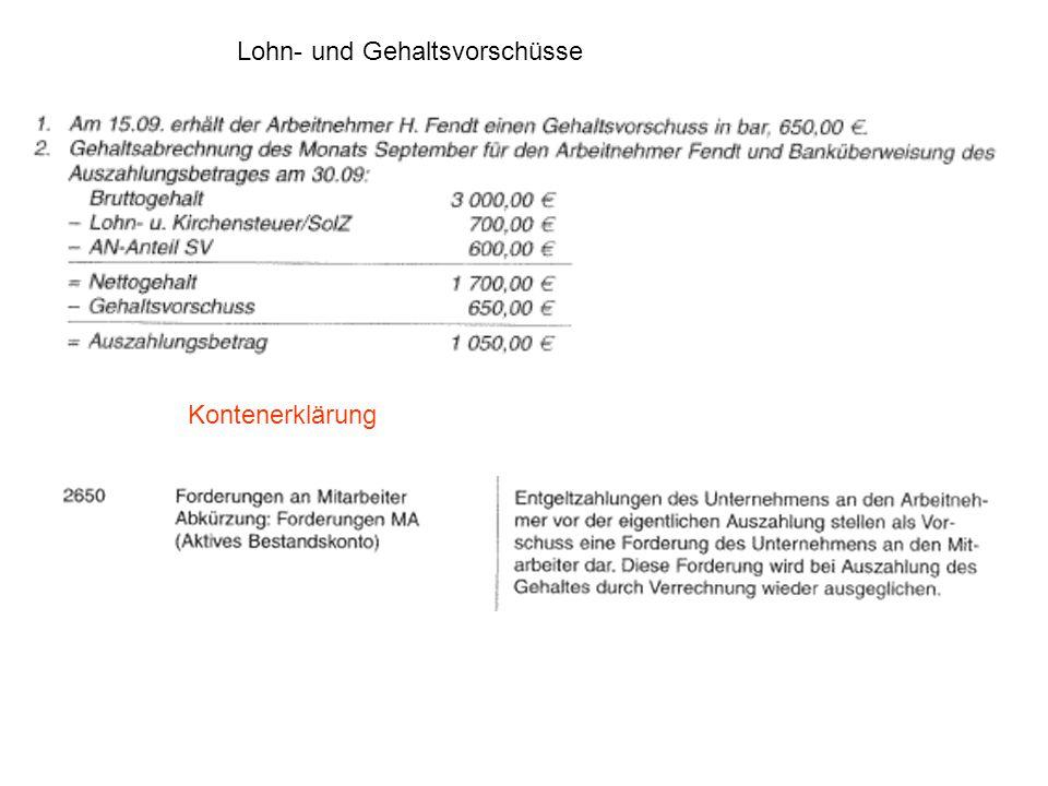 Lohn- und Gehaltsvorschüsse