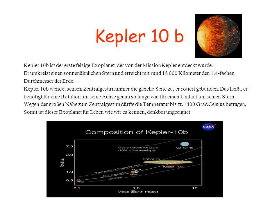 Kepler 10 b Kepler 10b ist der erste felsige Exoplanet, der von der Mission Kepler entdeckt wurde.