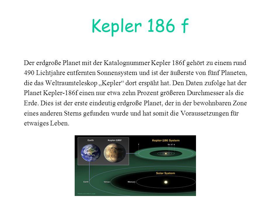Kepler 186 f Der erdgroße Planet mit der Katalognummer Kepler 186f gehört zu einem rund.