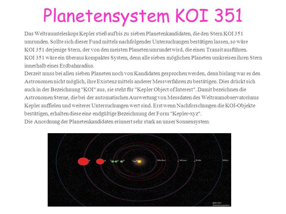 Planetensystem KOI 351 Das Weltraumteleskops Kepler stieß auf bis zu sieben Planetenkandidaten, die den Stern KOI 351.